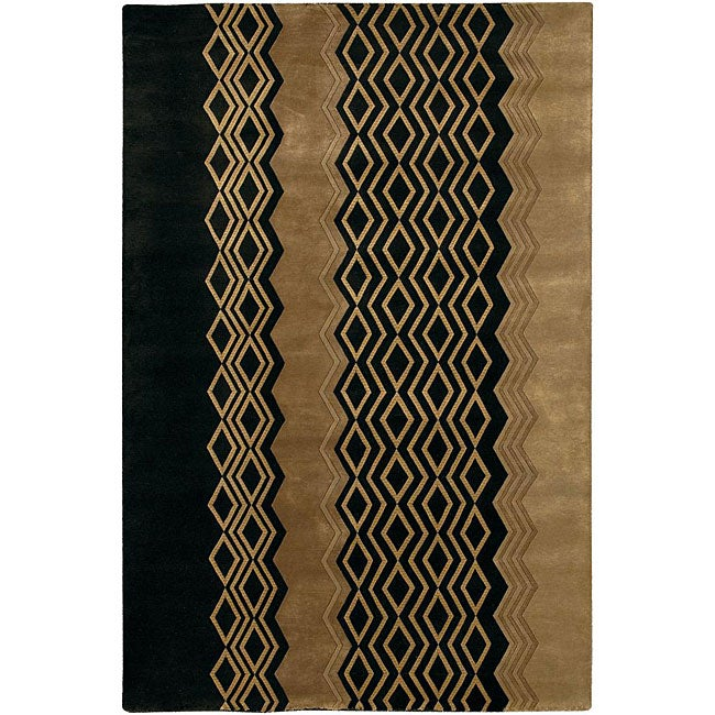 Shop Hand Knotted Mandara Black And Gold Wool Rug 7 9 X