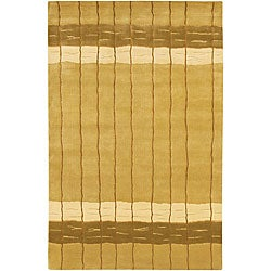 Artist's Loom Hand-knotted Contemporary Stripes Rug - 7'9 x 10'6 - Thumbnail 0