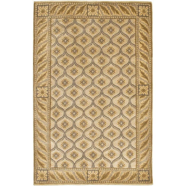 Artist's Loom Hand-knotted Transitional Floral Wool Rug - 7'9 x 10'6