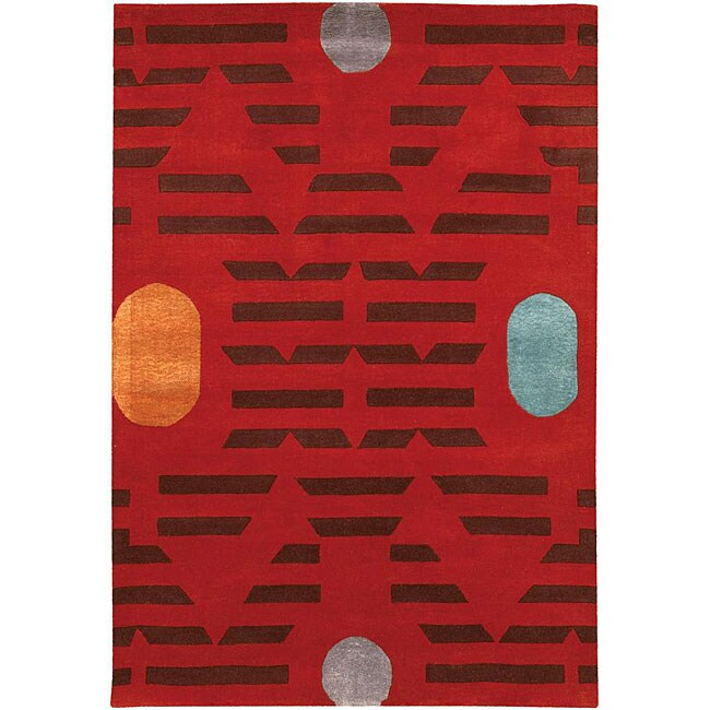 Artist's Loom Hand-tufted Contemporary Geometric Rug - 5' x 7'6