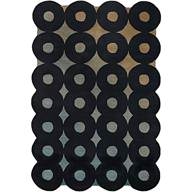 Hand-tufted Mandara Black Wool Rug (5' x 7'6)