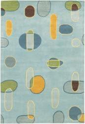 Hand-Tufted Light Blue Mandara Wool Rug (5' x 7'6) - Thumbnail 1