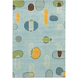 Hand-Tufted Light Blue Mandara Wool Rug (5' x 7'6)