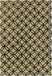 Hand-Tufted Mandara Beige New Zealand Wool Area Rug (5' x 7'6) - Thumbnail 1