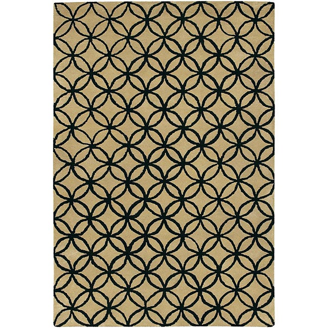 Hand-Tufted Mandara Beige New Zealand Wool Area Rug (5' x 7'6)
