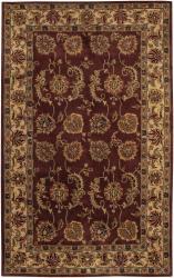 Hand-tufted Mandara Burgundy New Zealand Wool Rug (5' x 7'6) - Thumbnail 1