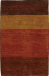 Hand-Tufted Mandara Brown/Gold/Red New Zealand Wool Rug (5' x 7'6)