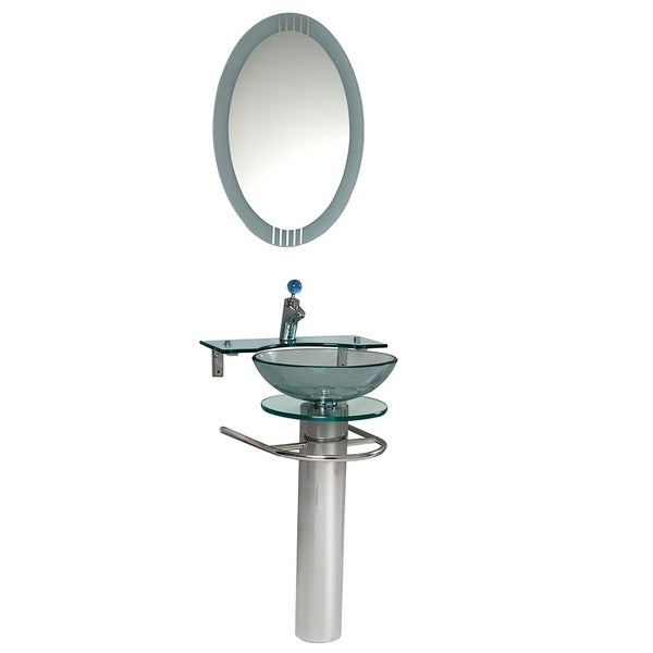 Fresca Ovale Glass Bathroom Vanity with Mirror