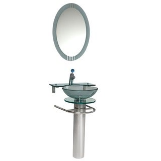 Fresca Ovale Glass Bathroom Vanity with Mirror