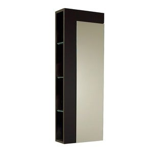 fresca espresso bathroom linen cabinet with large mirror door