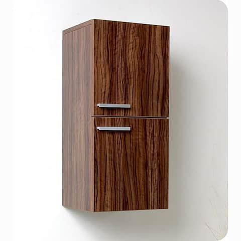 Fresca Walnut Bathroom Linen Side Cabinet