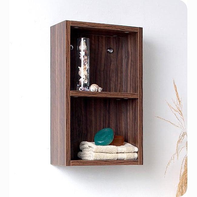 Fresca Walnut Open Storage Bathroom Linen Cabinet  sc 1 st  Overstock & Shop Fresca Walnut Open Storage Bathroom Linen Cabinet - Free ...