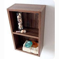 Fresca Walnut Open Storage Bathroom Linen Cabinet - Thumbnail 1