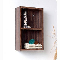 Fresca Walnut Open Storage Bathroom Linen Cabinet