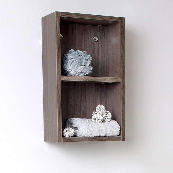 fresca grey oak open storage bathroom linen cabinet free shipping