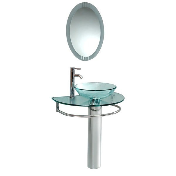 Fresca Attrazione Glass/ Stainless Steel Bathroom Vanity with Frosted Edge Mirror