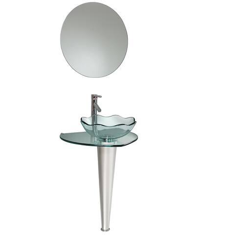 Fresca Netto Glass/ Stainless Steel Bathroom Vanity with Wavy-edge Vessel Sink - Silver
