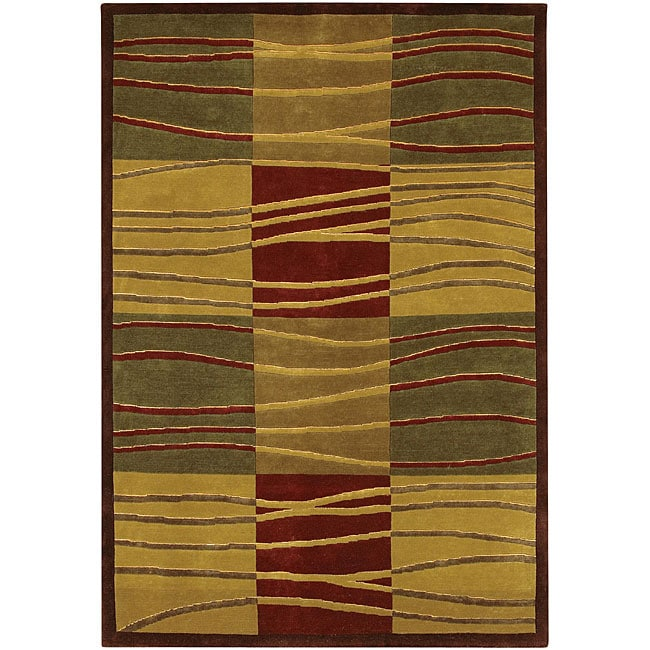 Artist's Loom Hand-knotted Contemporary Geometric Rug (5' x 7'6) - 5' x 7'6