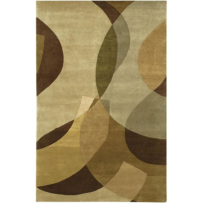 Artist's Loom Hand-knotted Contemporary Geometric Wool Rug (5'x7'6)