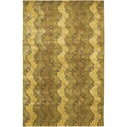 Artist's Loom Hand-knotted Contemporary Abstract Rug - 5' x 7'6 - Thumbnail 0