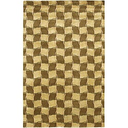 Artist's Loom Hand-knotted Contemporary Geometric Rug - 5' x 7'6 - Thumbnail 0
