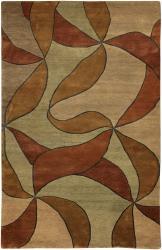 Hand-knotted Mandara Green Geometric Wool Rug (5' x 7'6)