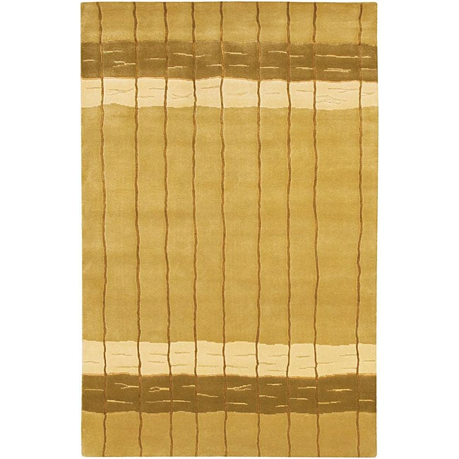 Artist's Loom Hand-knotted Contemporary Stripes Rug - 5' x 7'6