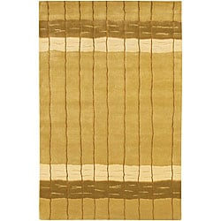Artist's Loom Hand-knotted Contemporary Stripes Rug - 5' x 7'6 - Thumbnail 0