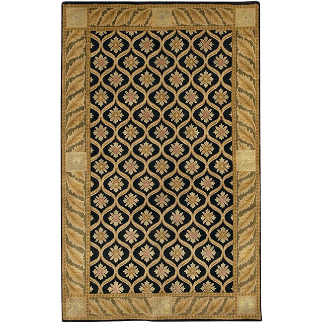 Artist's Loom Hand-knotted Transitional Floral Wool Rug (5'x7'6)