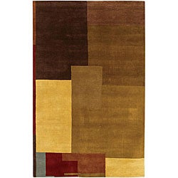 Artist's Loom Hand-knotted Contemporary Geometric Wool Rug (5'x7'6) - multi - Thumbnail 0