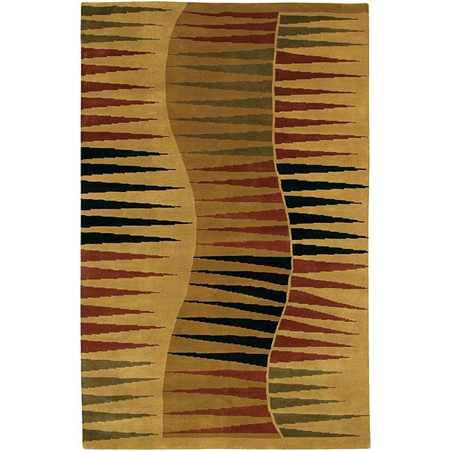 Artist's Loom Hand-knotted Contemporary Abstract Wool Rug - 5' x 7'6