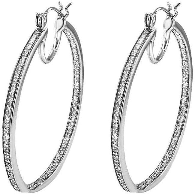 Sterling Silver 1/3ct TDW Diamond Hoop Earrings