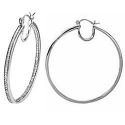 Sterling Silver 1/3ct TDW Diamond Hoop Earrings - Thumbnail 1