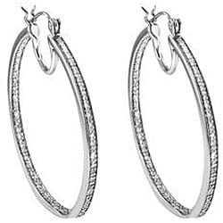 Sterling Silver 1/3ct TDW Diamond Hoop Earrings - Thumbnail 2