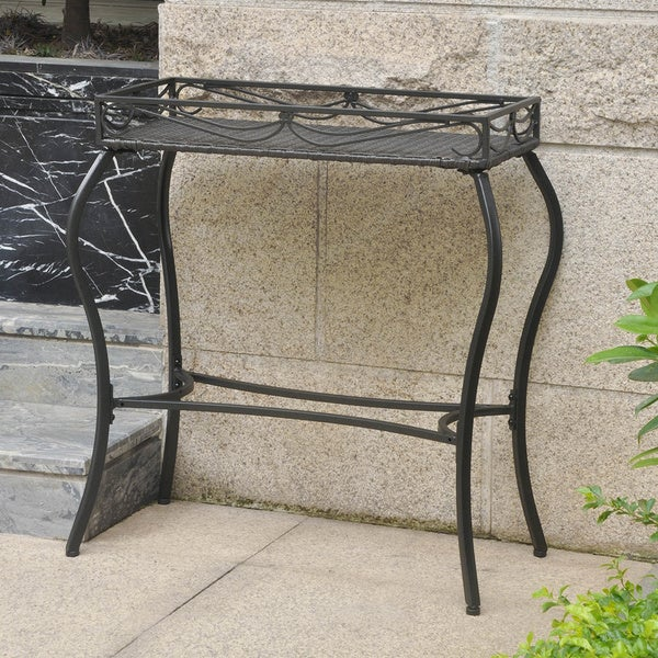 International Caravan Valencia Resin Wicker/ Steel Rectangular Plant Stand
