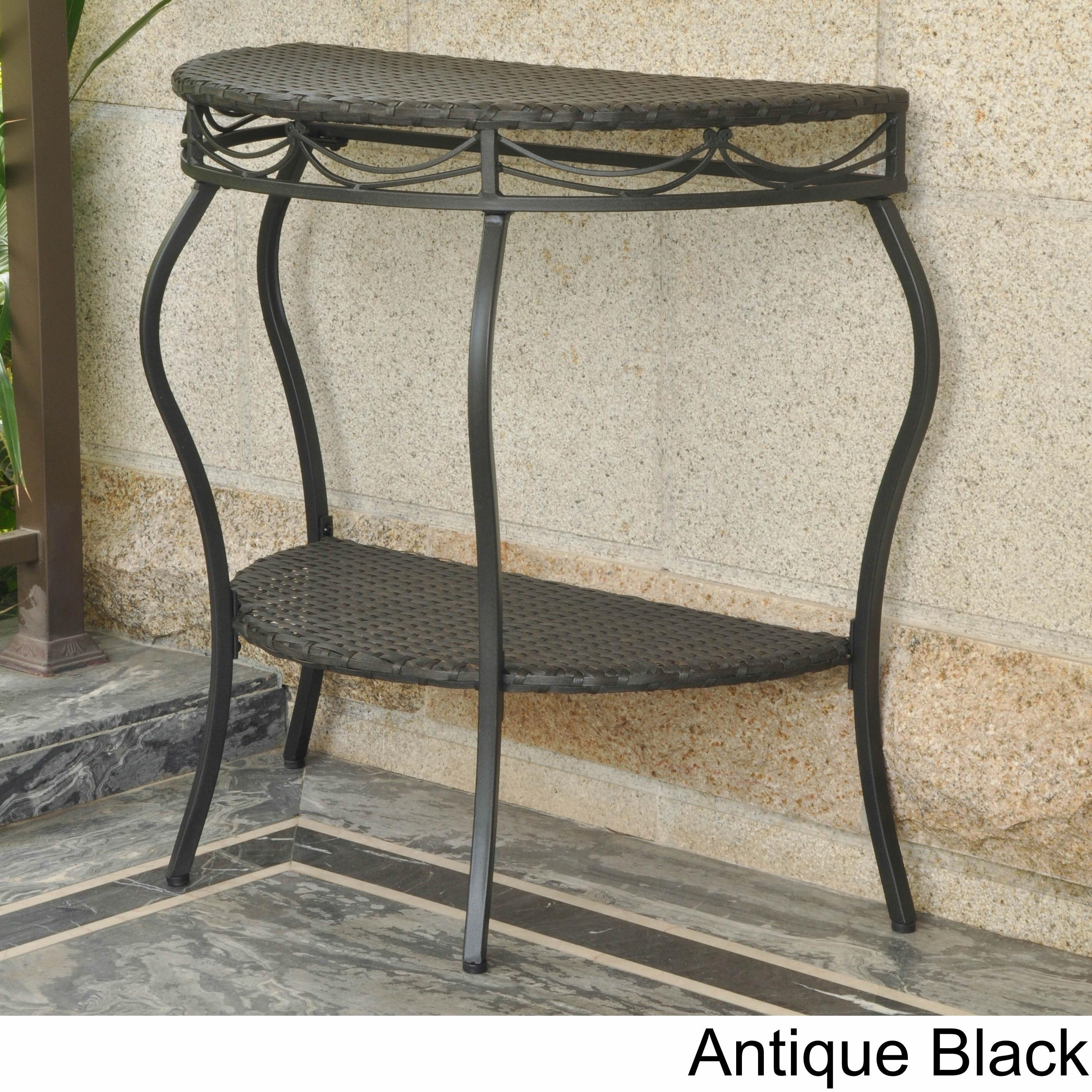 International Caravan Valencia Resin Wicker Outdoor Half Moon Table (Antique  Black), Patio
