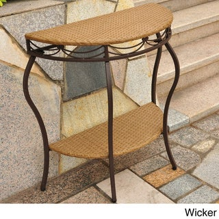 International Caravan Valencia Resin Wicker Outdoor Half-moon Table