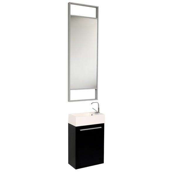 Fresca Pulito Small Black Modern Bathroom Vanity with Tall Mirror