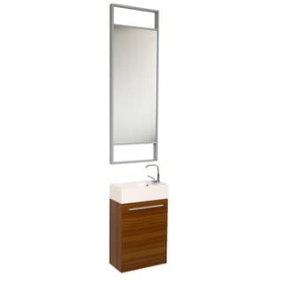 Fresca Pulito Teak Tall Mirror Bathroom Vanity