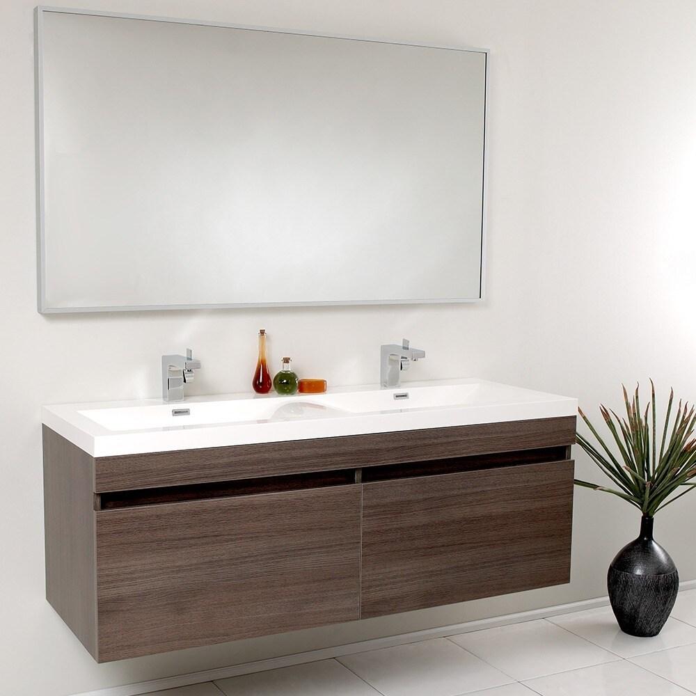 . Fresca Largo Gray Oak Double Bathroom Vanity