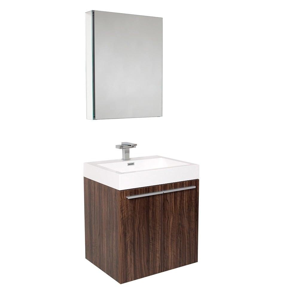 Fresca Alto Walnut Bathroom Vanity Set