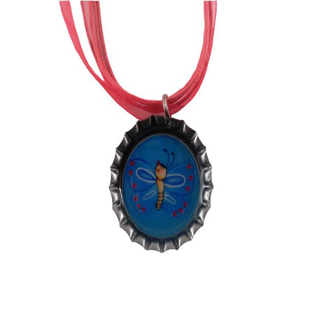 Dragonfly Blue Bottle Cap Necklace