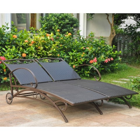 International Caravan Valencia Resin Wicker Multi-position Double Patio Chaise Lounge