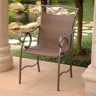 International Caravan Valencia Resin Wicker/ Steel Dining Chairs (Set of 2)