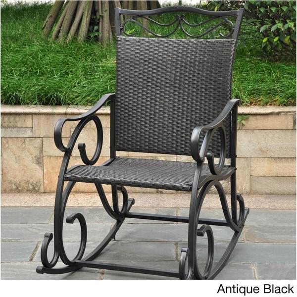 International Caravan Valencia Resin Wicker/ Steel Frame Rocking Chair    Free Shipping Today   Overstock.com   13036305