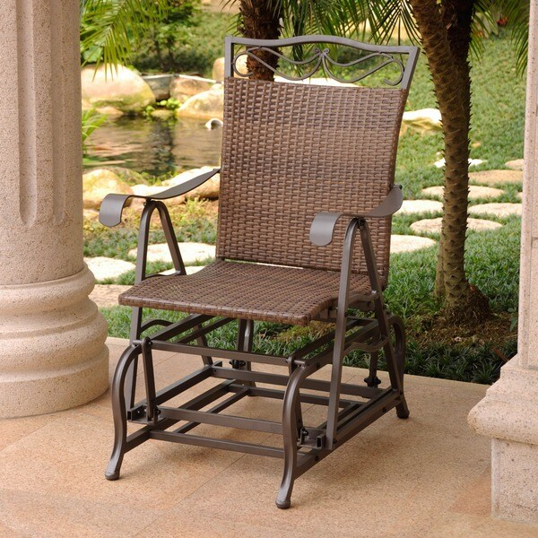 Superieur International Caravan Valencia Resin Wicker And Steel Frame Single Glider  Chair