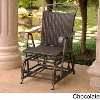 International Caravan Valencia Resin Wicker/ Steel Frame Single Glider Chair