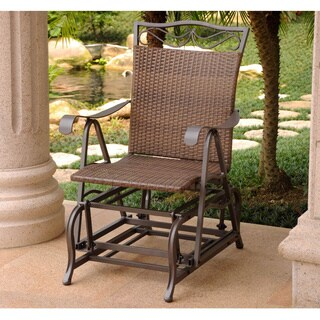 International Caravan Valencia Resin Wicker and Steel Frame Single Glider Chair
