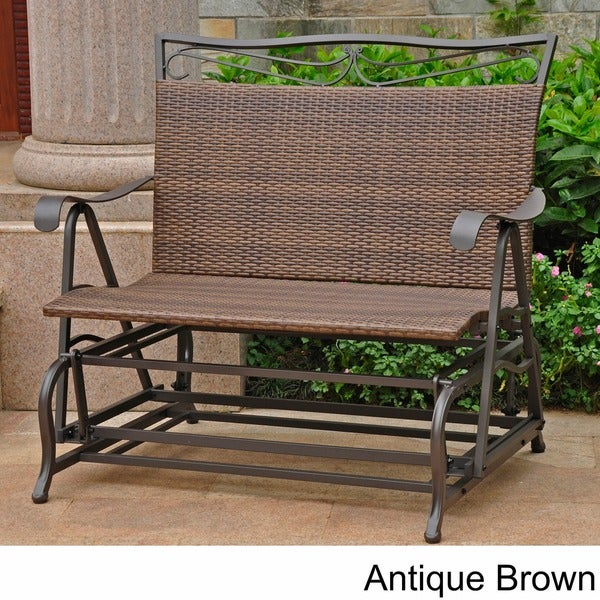 International Caravan Valencia Resin Wicker/ Steel Frame Double Glider  Chair   Free Shipping Today   Overstock.com   13036314