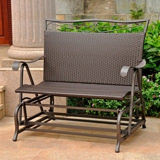 International Caravan Valencia Resin Wicker/ Steel Frame Double Glider Chair